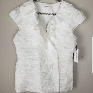 Calvin Klein white ruched wrap shirt  size L